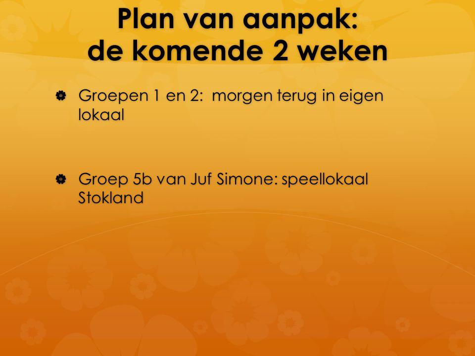 Plan van aanpak: de komende 2 weken  Groepen 1 en 2: morgen terug in eigen lokaal  Groep 5b van Juf Simone: speellokaal Stokland
