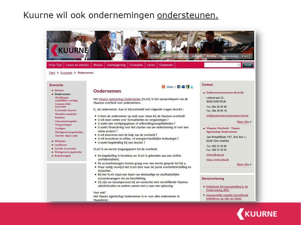 Kuurne wil ook ondernemingen ondersteunen.