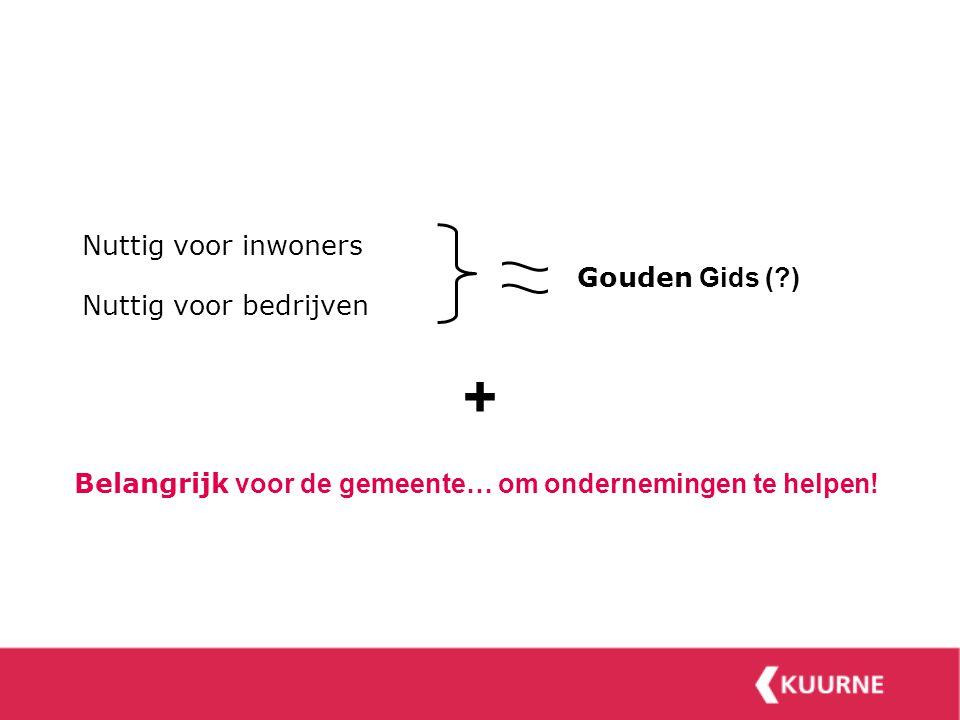 Nuttig voor inwoners Nuttig voor bedrijven Belangrijk voor de gemeente… om ondernemingen te helpen.
