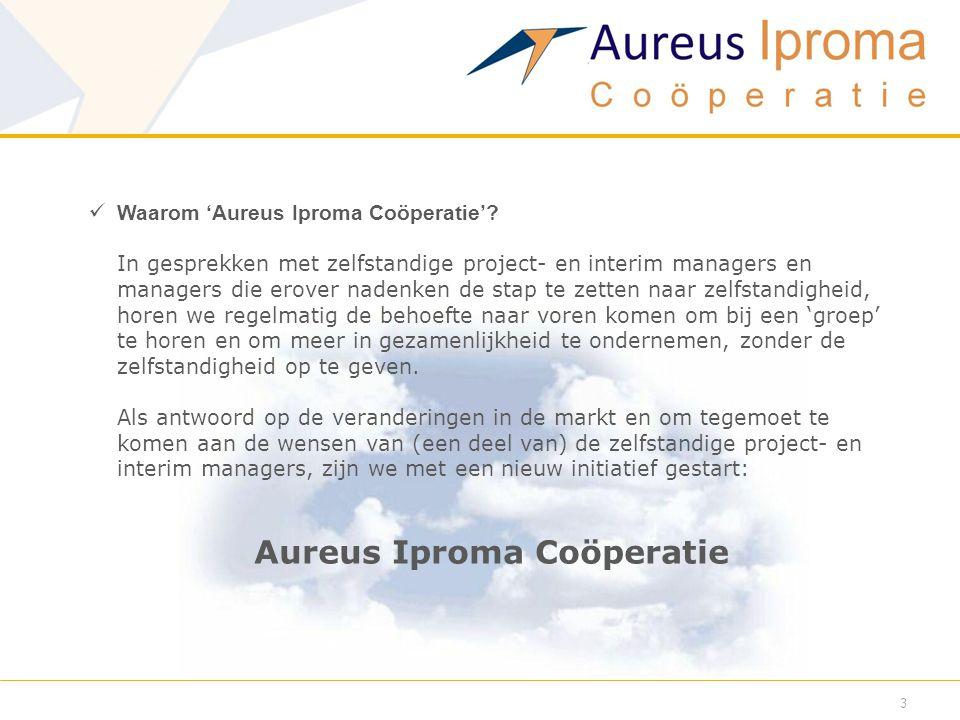  Waarom 'Aureus Iproma Coöperatie'? In gesprekken met zelfstandige project- en interim managers en managers die erover nadenken de stap te zetten naa