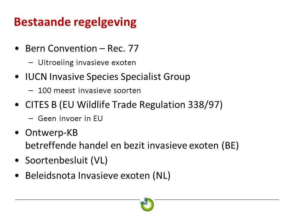 Bestaande regelgeving •Bern Convention – Rec. 77 –Uitroeiing invasieve exoten •IUCN Invasive Species Specialist Group –100 meest invasieve soorten •CI