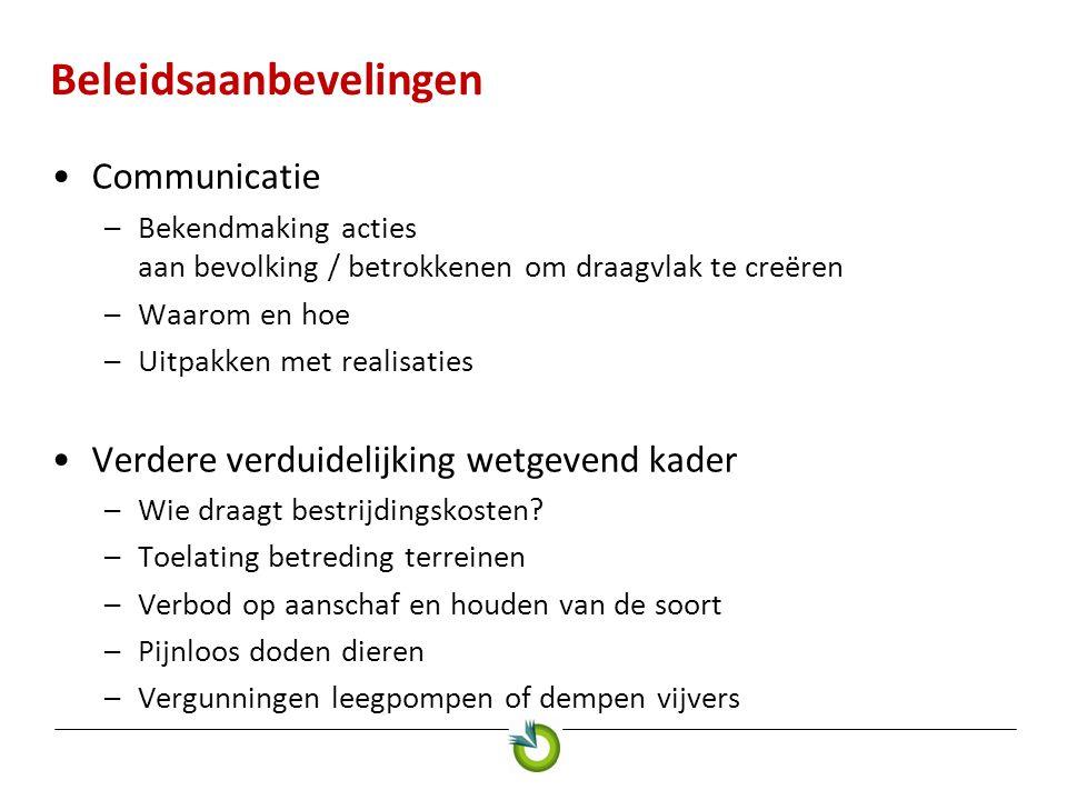 Beleidsaanbevelingen •Communicatie –Bekendmaking acties aan bevolking / betrokkenen om draagvlak te creëren –Waarom en hoe –Uitpakken met realisaties •Verdere verduidelijking wetgevend kader –Wie draagt bestrijdingskosten.