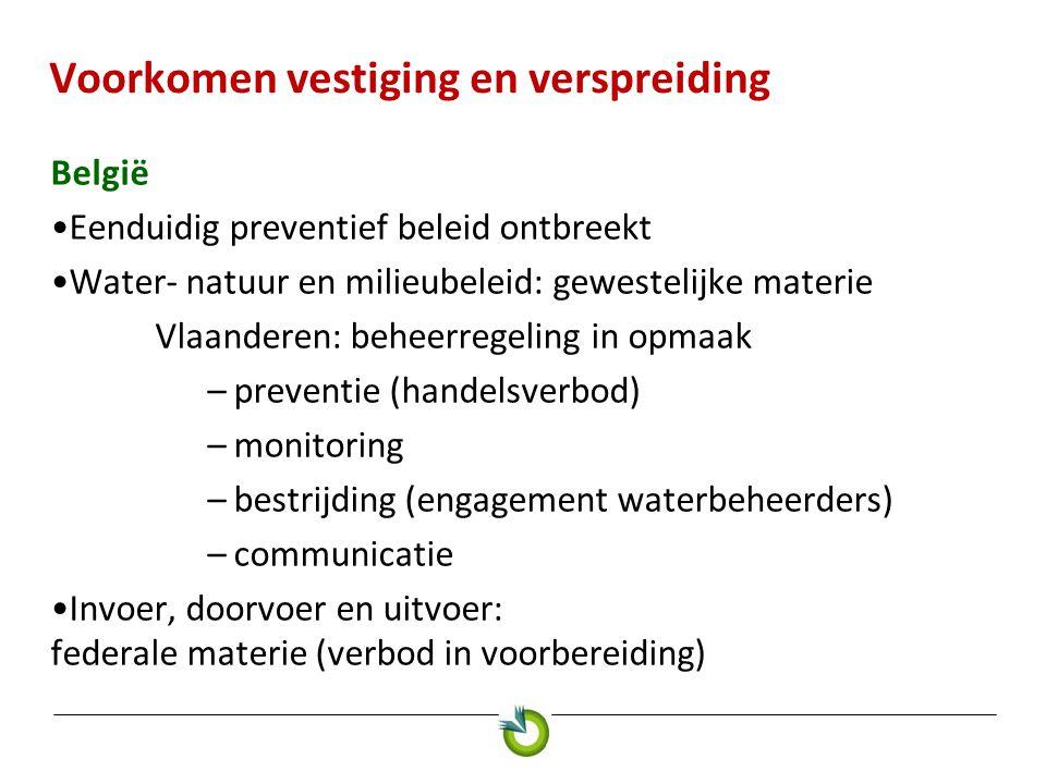 Voorkomen vestiging en verspreiding België •Eenduidig preventief beleid ontbreekt •Water- natuur en milieubeleid: gewestelijke materie Vlaanderen: beh
