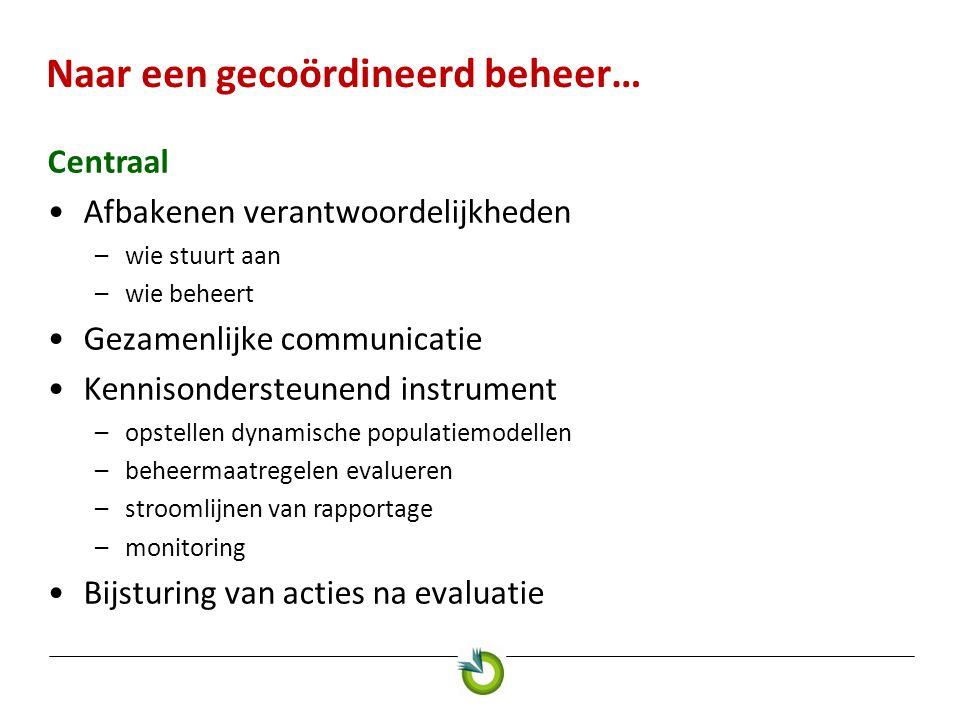 Naar een gecoördineerd beheer… Centraal •Afbakenen verantwoordelijkheden –wie stuurt aan –wie beheert •Gezamenlijke communicatie •Kennisondersteunend