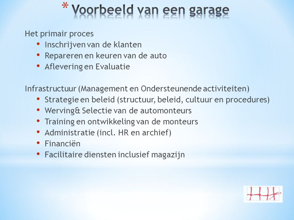 Het primair proces • Inschrijven van de klanten • Repareren en keuren van de auto • Aflevering en Evaluatie Infrastructuur (Management en Ondersteunen