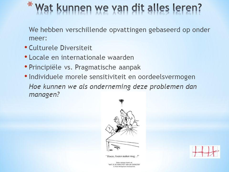 We hebben verschillende opvattingen gebaseerd op onder meer: • Culturele Diversiteit • Locale en internationale waarden • Principiële vs. Pragmatische