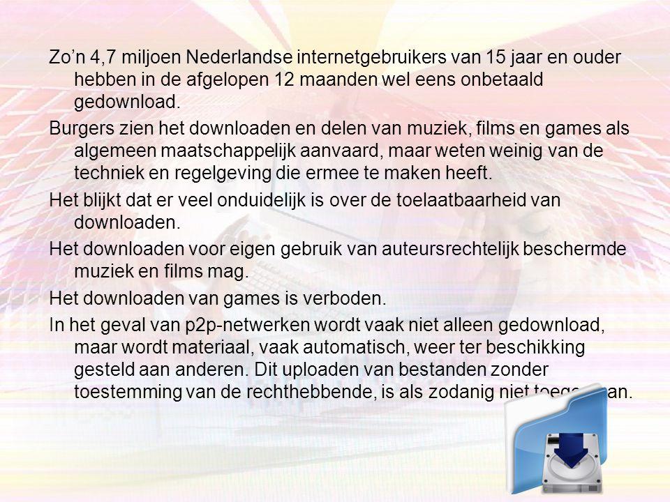 Zo'n 4,7 miljoen Nederlandse internetgebruikers van 15 jaar en ouder hebben in de afgelopen 12 maanden wel eens onbetaald gedownload.