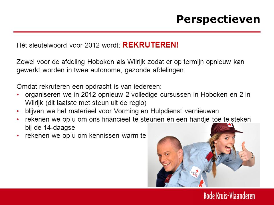 Perspectieven Hét sleutelwoord voor 2012 wordt: REKRUTEREN.