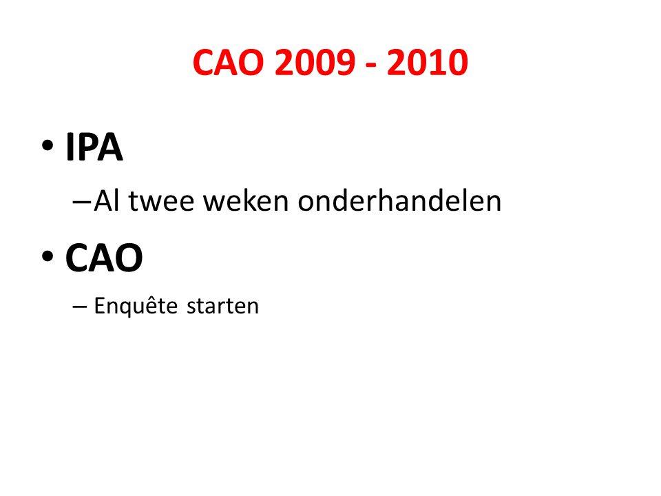 CAO 2009 - 2010 • IPA – Al twee weken onderhandelen • CAO – Enquête starten