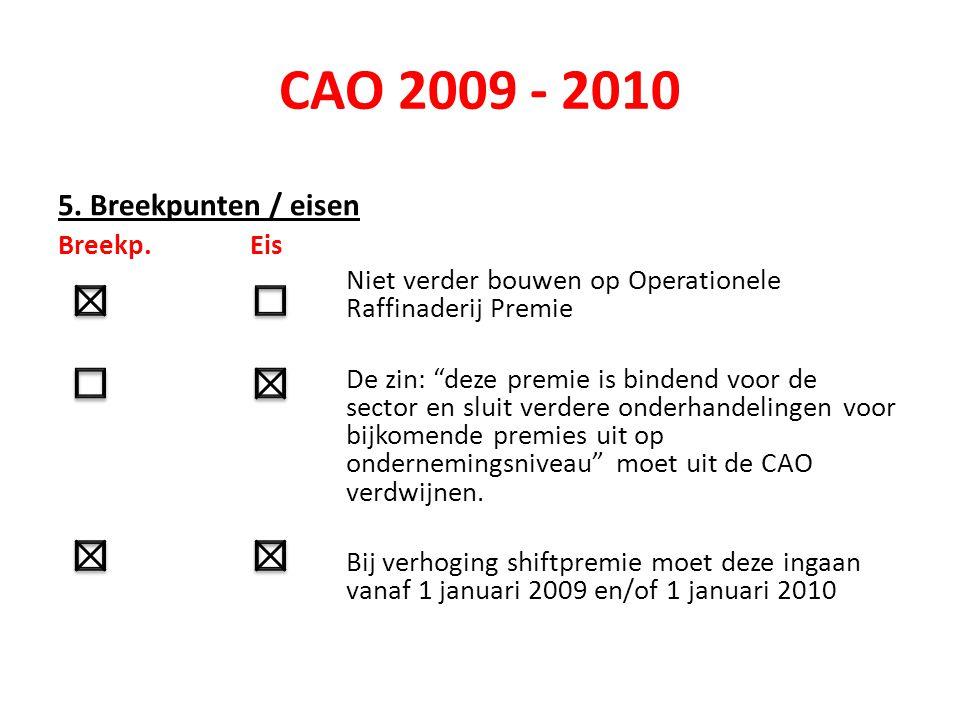 """CAO 2009 - 2010 5. Breekpunten / eisen Breekp.Eis Niet verder bouwen op Operationele Raffinaderij Premie De zin: """"deze premie is bindend voor de secto"""