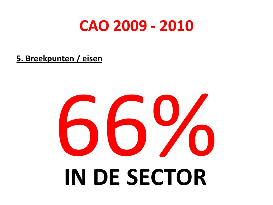 CAO 2009 - 2010 5. Breekpunten / eisen 66% IN DE SECTOR