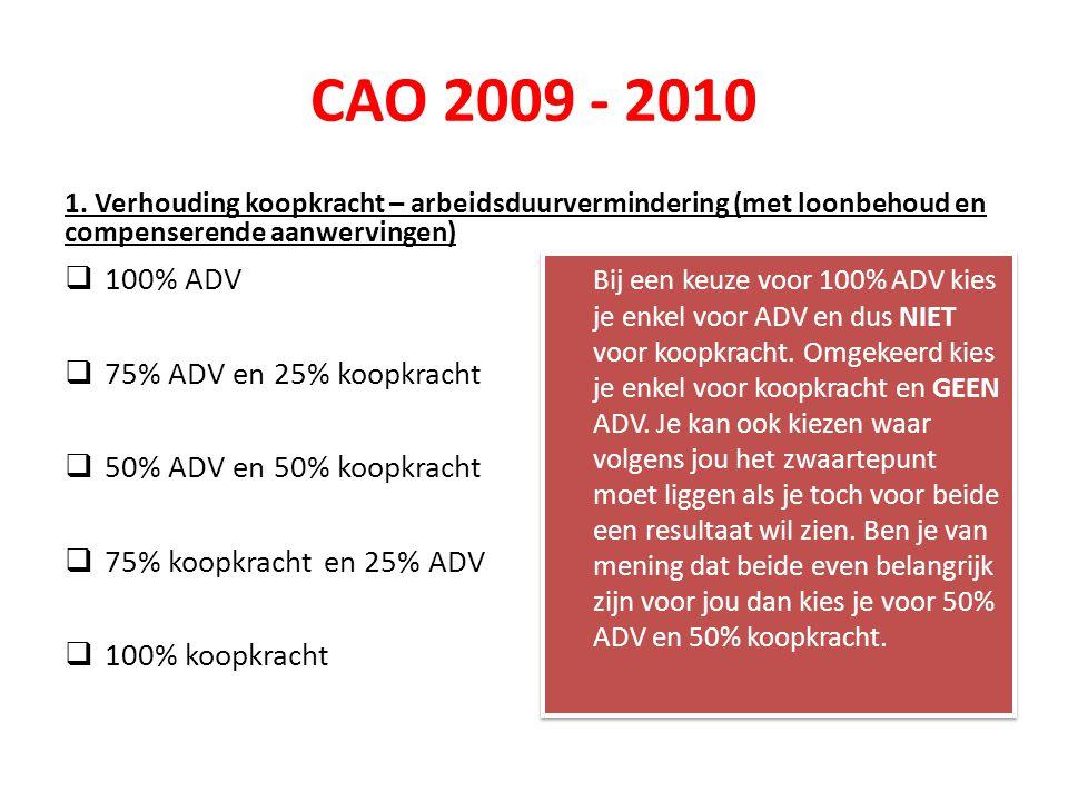 CAO 2009 - 2010 1. Verhouding koopkracht – arbeidsduurvermindering (met loonbehoud en compenserende aanwervingen)  100% ADV  75% ADV en 25% koopkrac