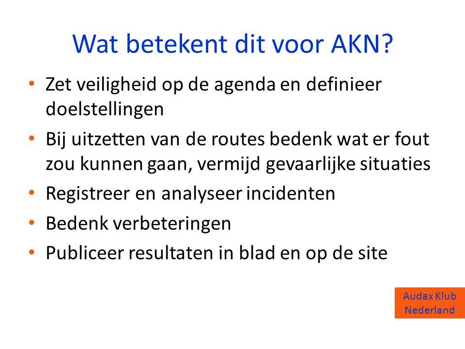 Audax Klub Nederland Wat betekent dit voor AKN? • Zet veiligheid op de agenda en definieer doelstellingen • Bij uitzetten van de routes bedenk wat er
