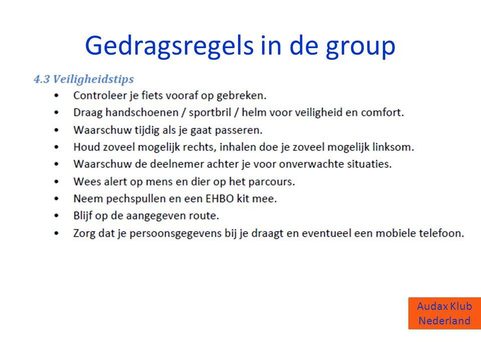 Audax Klub Nederland Gedragsregels in de group