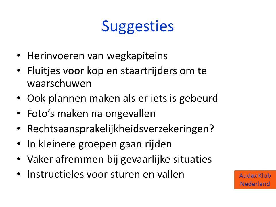 Audax Klub Nederland Suggesties • Herinvoeren van wegkapiteins • Fluitjes voor kop en staartrijders om te waarschuwen • Ook plannen maken als er iets