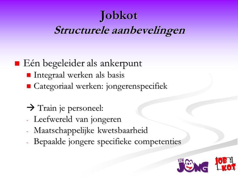 Jobkot Structurele aanbevelingen  Eén begeleider als ankerpunt  Integraal werken als basis  Categoriaal werken: jongerenspecifiek  Train je personeel: - Leefwereld van jongeren - Maatschappelijke kwetsbaarheid - Bepaalde jongere specifieke competenties