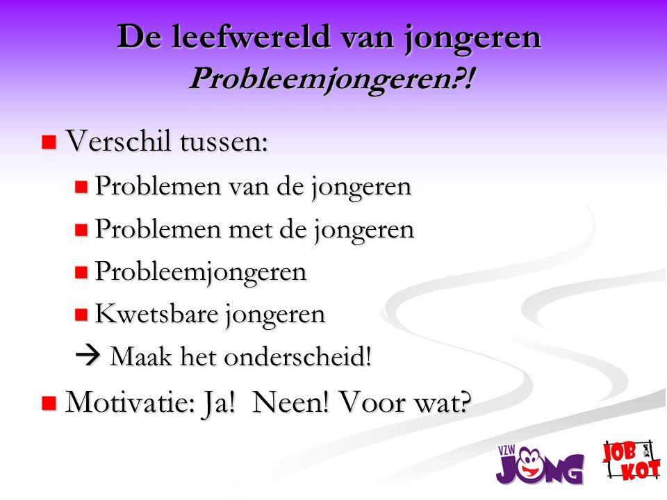  Verschil tussen:  Problemen van de jongeren  Problemen met de jongeren  Probleemjongeren  Kwetsbare jongeren  Maak het onderscheid.