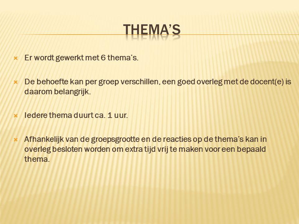  Er wordt gewerkt met 6 thema's.  De behoefte kan per groep verschillen, een goed overleg met de docent(e) is daarom belangrijk.  Iedere thema duur