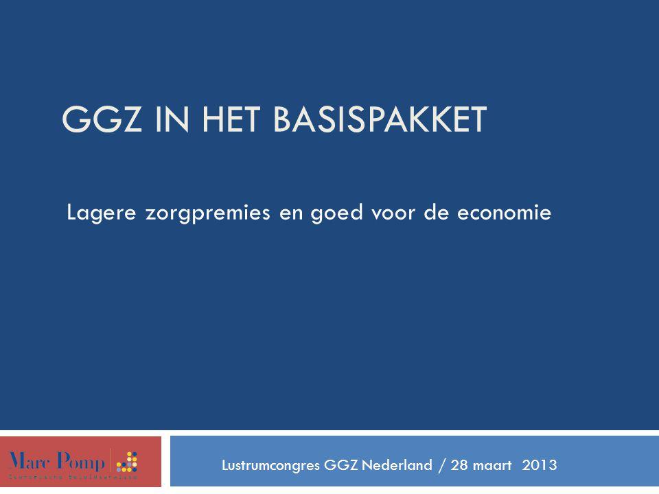 GGZ IN HET BASISPAKKET Lagere zorgpremies en goed voor de economie Lustrumcongres GGZ Nederland / 28 maart 2013