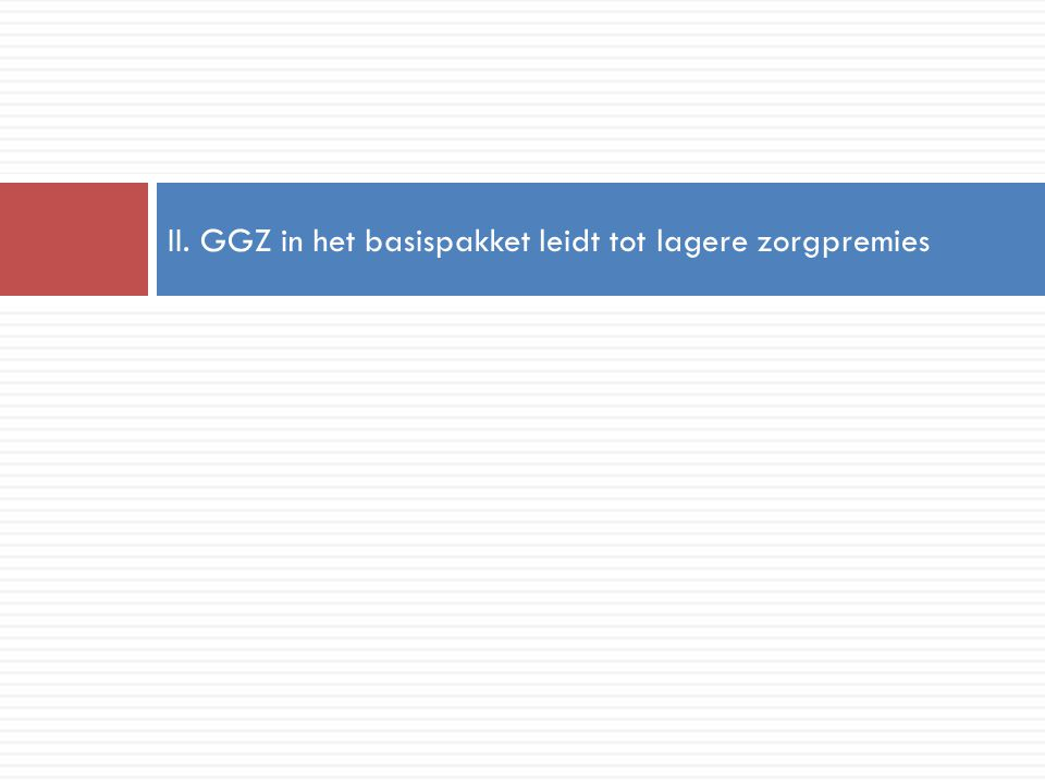 II. GGZ in het basispakket leidt tot lagere zorgpremies
