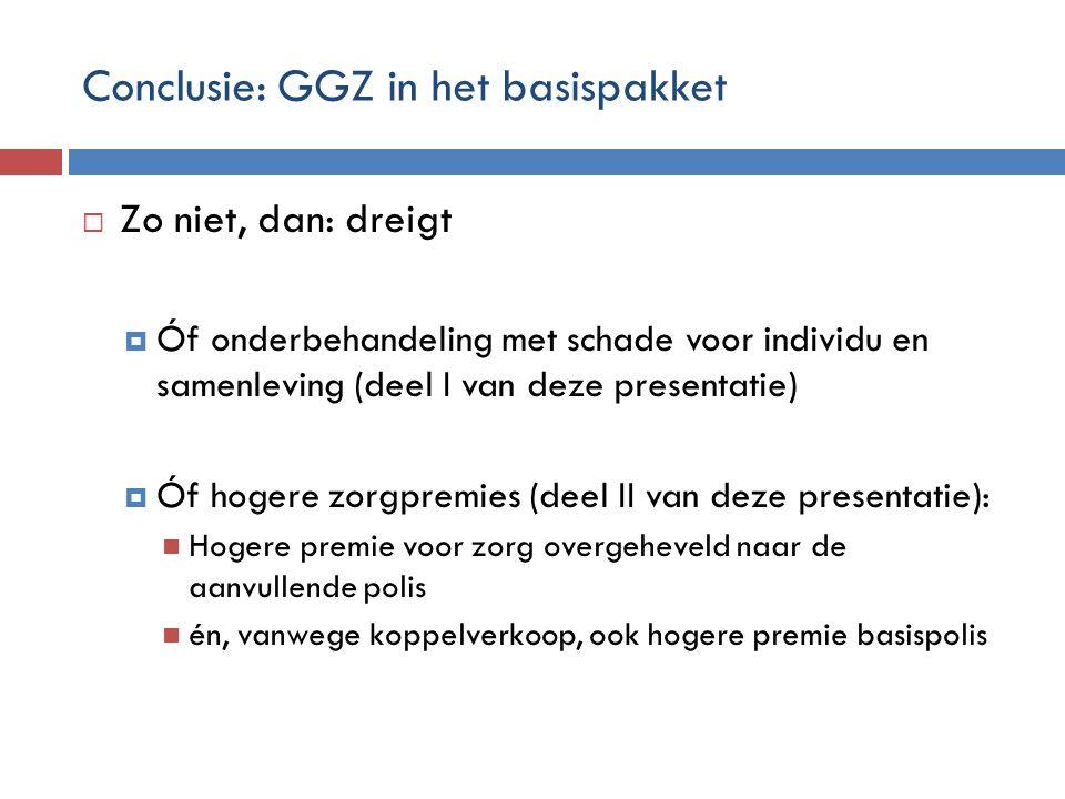 Conclusie: GGZ in het basispakket  Zo niet, dan: dreigt  Óf onderbehandeling met schade voor individu en samenleving (deel I van deze presentatie) 