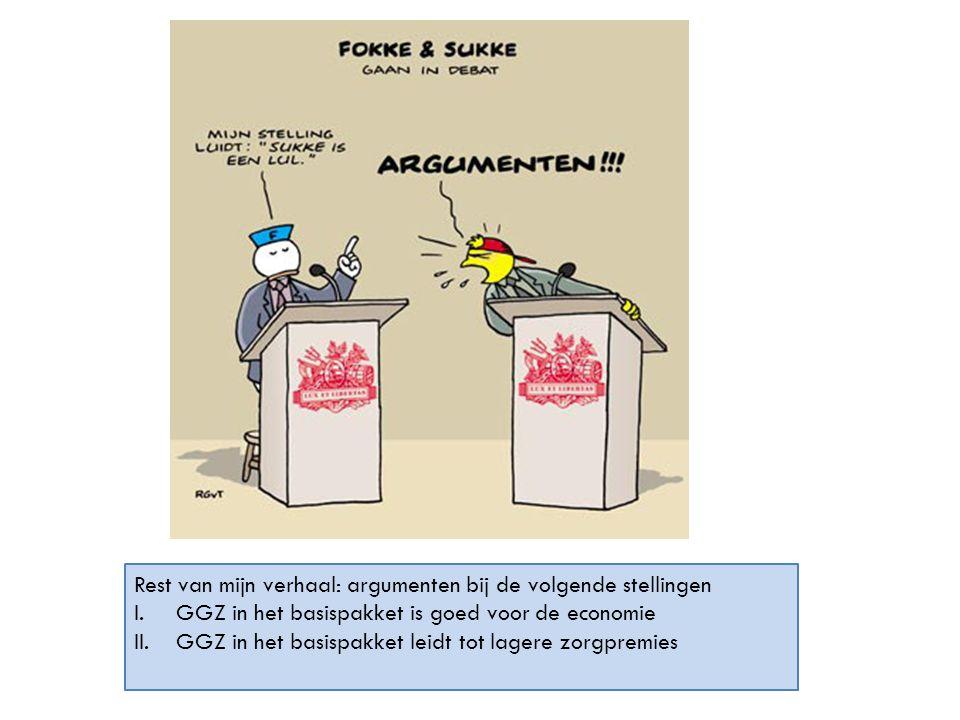 Rest van mijn verhaal: argumenten bij de volgende stellingen I.GGZ in het basispakket is goed voor de economie II.GGZ in het basispakket leidt tot lag