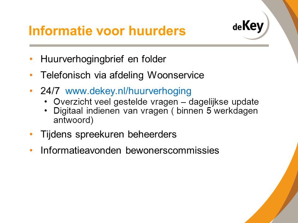 Informatie voor huurders •Huurverhogingbrief en folder •Telefonisch via afdeling Woonservice •24/7 www.dekey.nl/huurverhoging •Overzicht veel gestelde