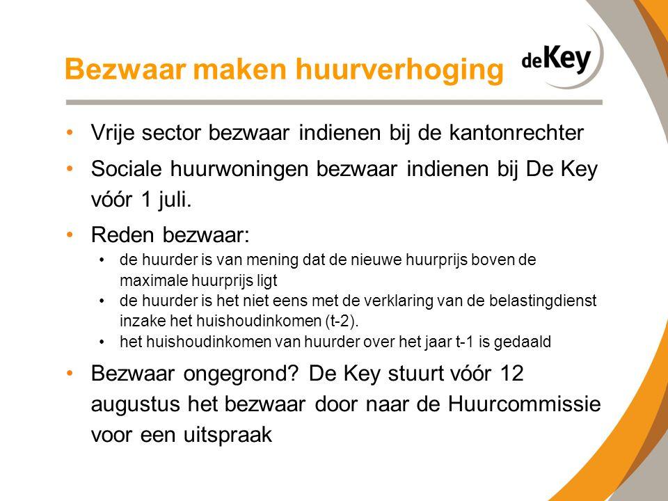 Bezwaar maken huurverhoging •Vrije sector bezwaar indienen bij de kantonrechter •Sociale huurwoningen bezwaar indienen bij De Key vóór 1 juli. •Reden