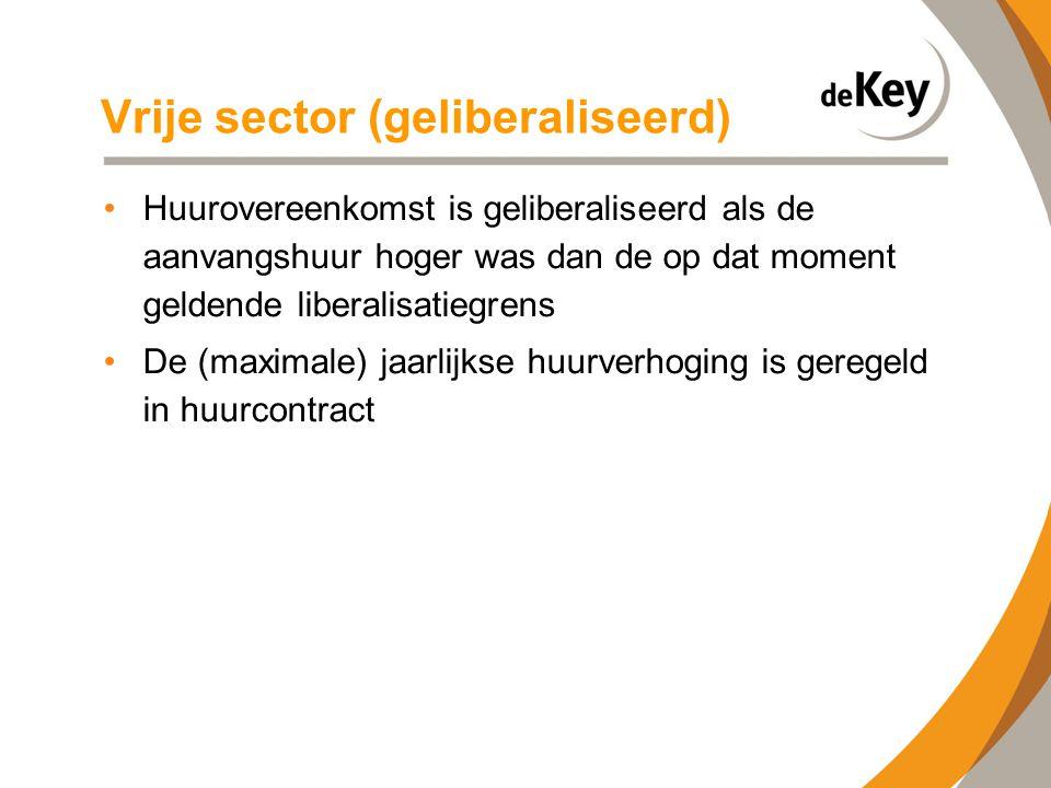 Vrije sector (geliberaliseerd) •Huurovereenkomst is geliberaliseerd als de aanvangshuur hoger was dan de op dat moment geldende liberalisatiegrens •De