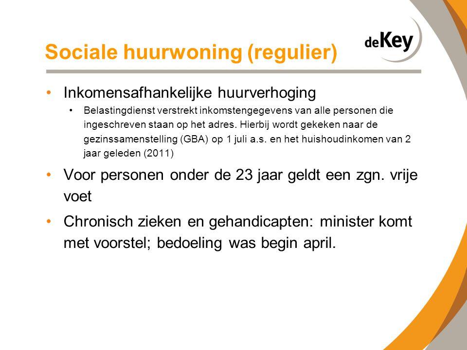 Sociale huurwoning (regulier) •Inkomensafhankelijke huurverhoging •Belastingdienst verstrekt inkomstengegevens van alle personen die ingeschreven staa