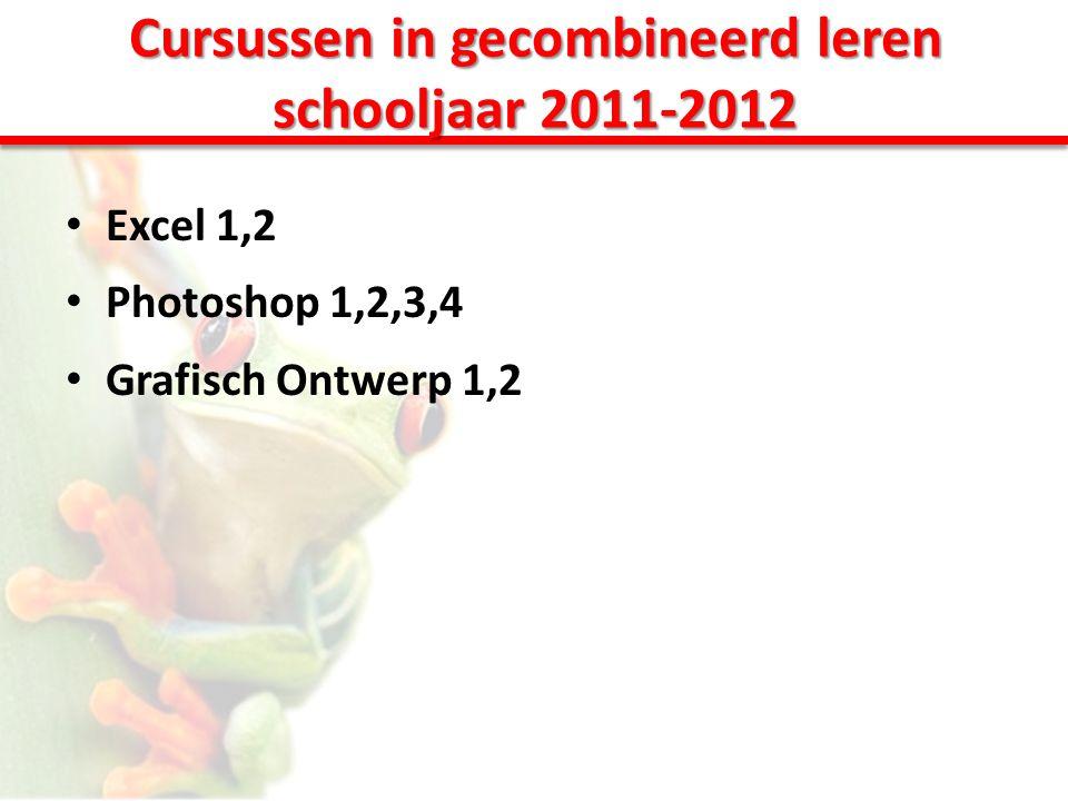 Cursussen in gecombineerd leren schooljaar 2011-2012 • Excel 1,2 • Photoshop 1,2,3,4 • Grafisch Ontwerp 1,2