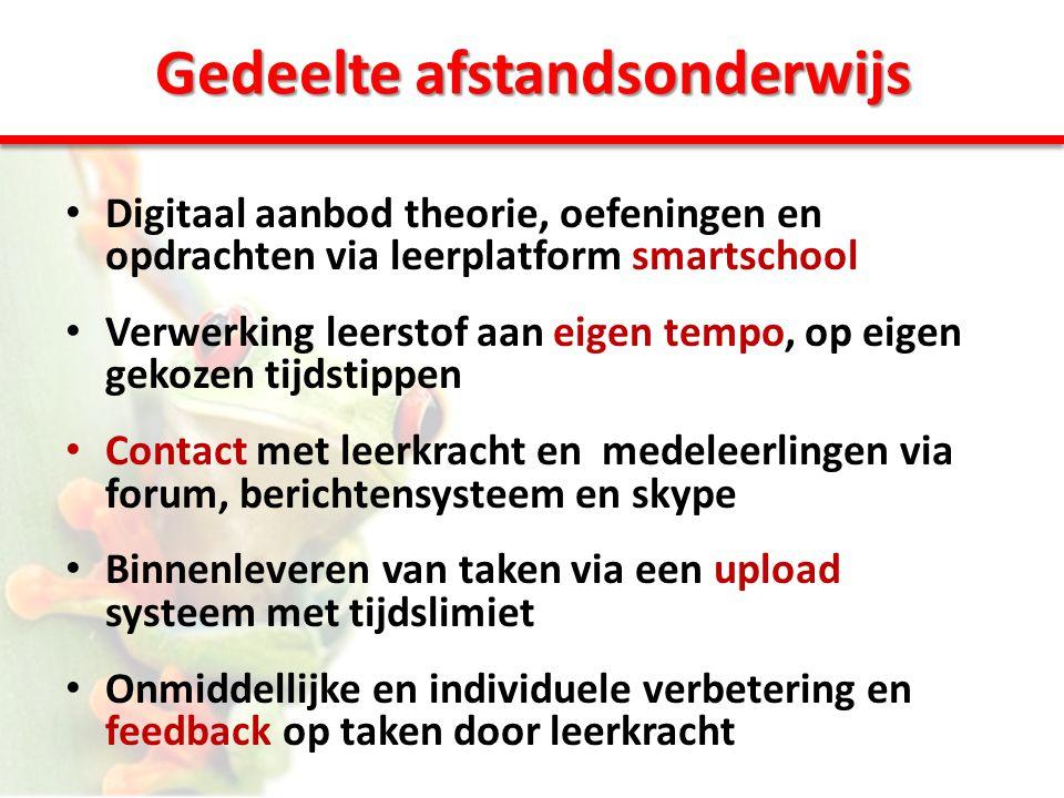 Gedeelte afstandsonderwijs • Digitaal aanbod theorie, oefeningen en opdrachten via leerplatform smartschool • Verwerking leerstof aan eigen tempo, op