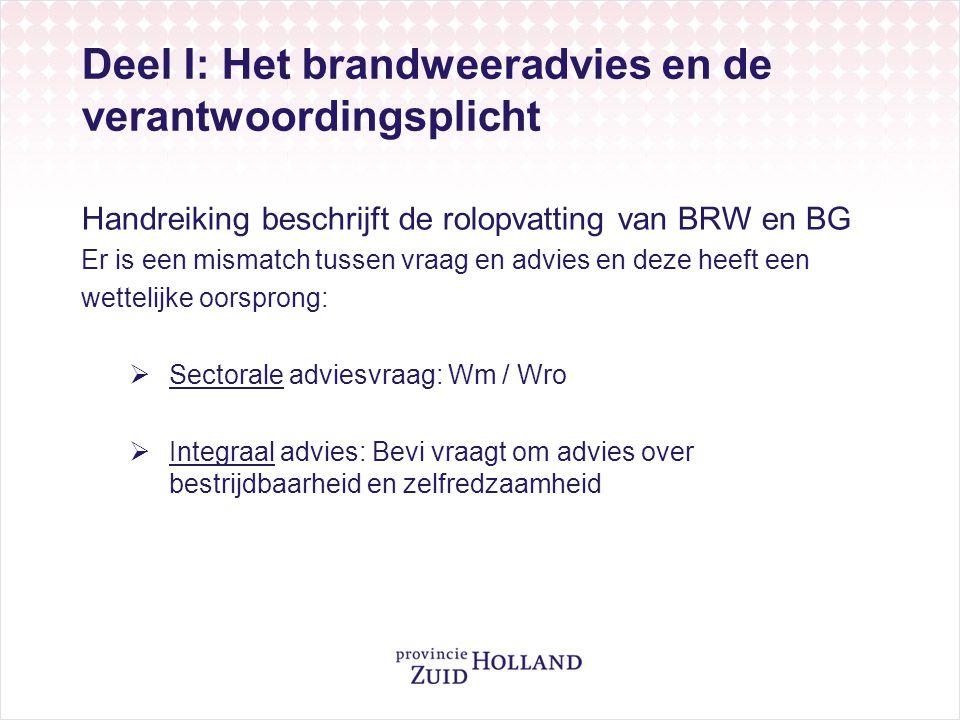 Deel I: Het brandweeradvies en de verantwoordingsplicht Handreiking beschrijft de rolopvatting van BRW en BG Er is een mismatch tussen vraag en advies