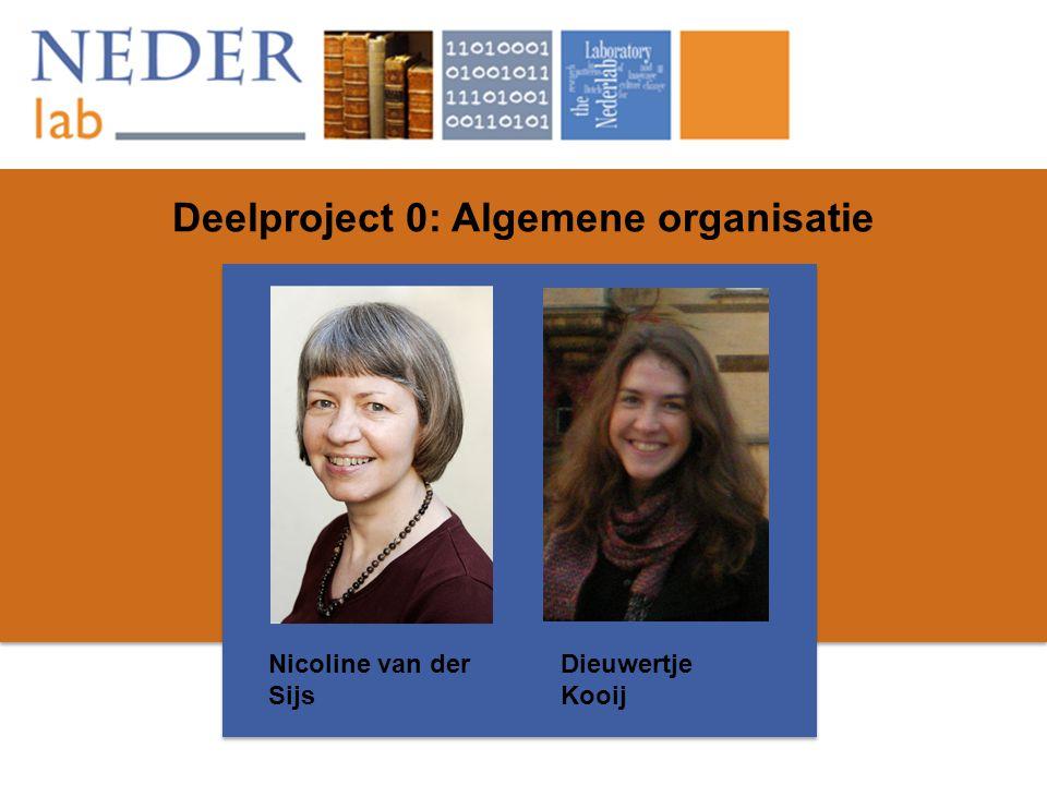 Deelproject 0: Algemene organisatie Nicoline van der Sijs Dieuwertje Kooij