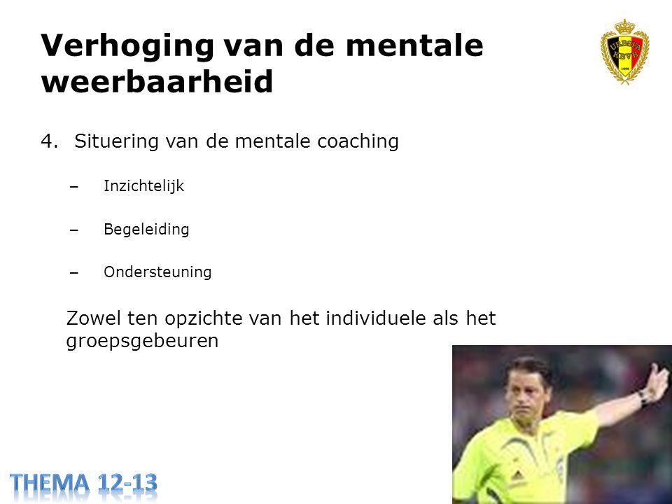 Verhoging van de mentale weerbaarheid 4.Situering van de mentale coaching – Inzichtelijk – Begeleiding – Ondersteuning Zowel ten opzichte van het individuele als het groepsgebeuren