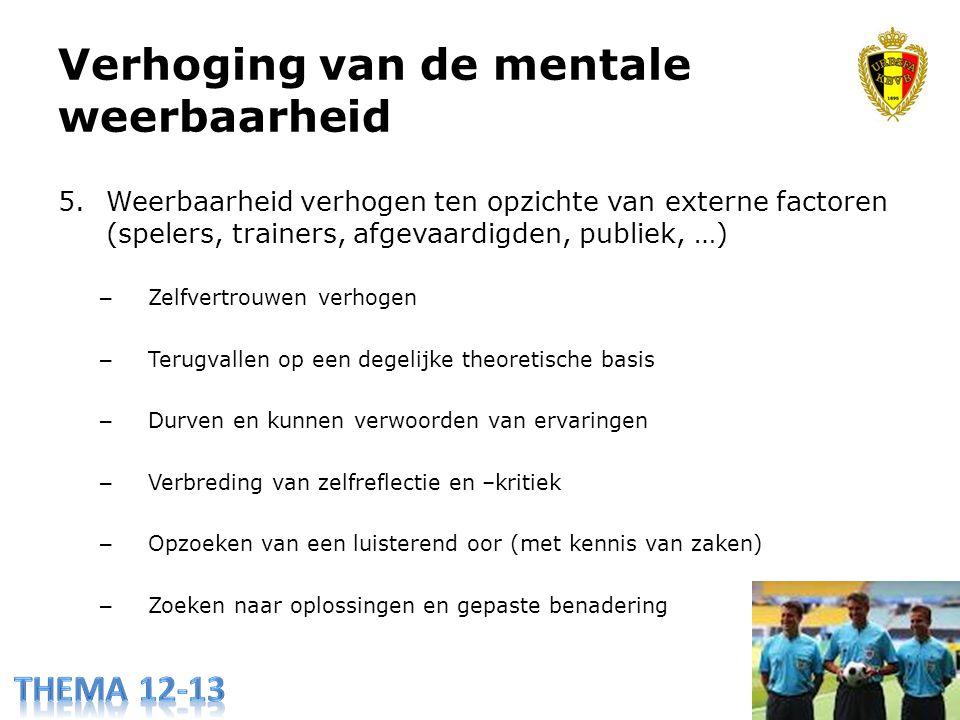 Verhoging van de mentale weerbaarheid 5.Weerbaarheid verhogen ten opzichte van externe factoren (spelers, trainers, afgevaardigden, publiek, …) – Zelf