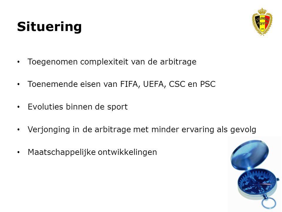 • Toegenomen complexiteit van de arbitrage • Toenemende eisen van FIFA, UEFA, CSC en PSC • Evoluties binnen de sport • Verjonging in de arbitrage met minder ervaring als gevolg • Maatschappelijke ontwikkelingen Situering