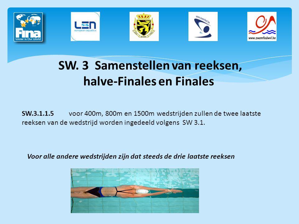 SW. 3 Samenstellen van reeksen, halve-Finales en Finales SW.3.1.1.5voor 400m, 800m en 1500m wedstrijden zullen de twee laatste reeksen van de wedstrij