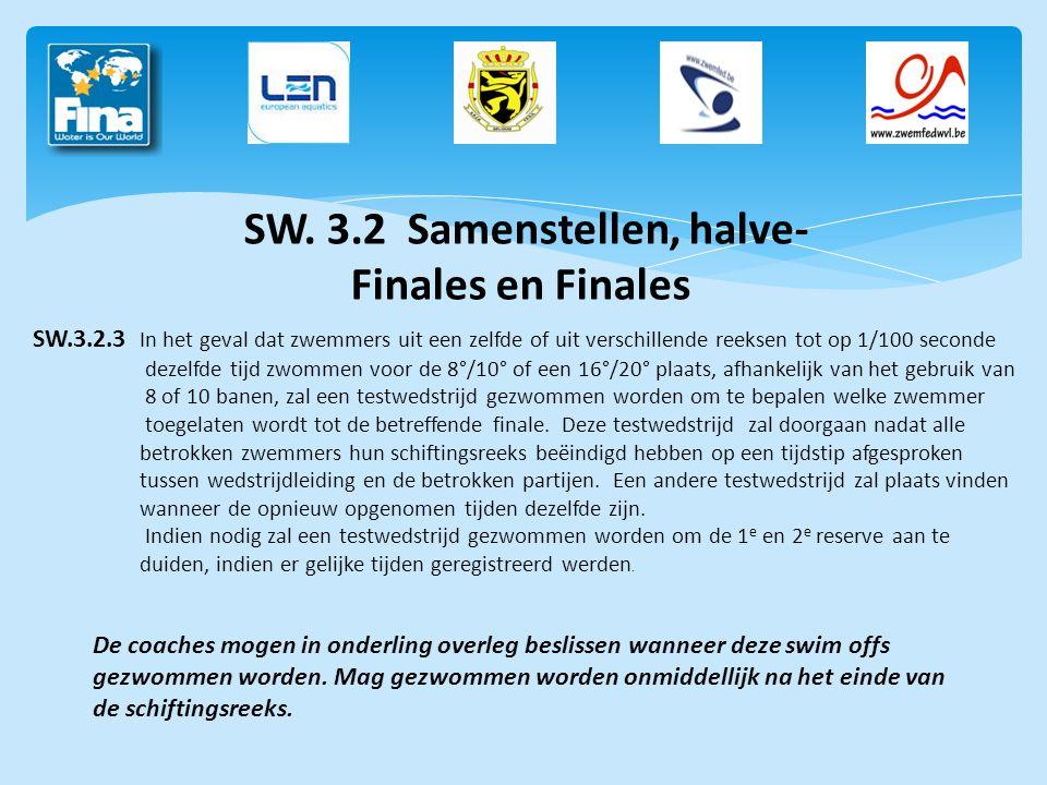 SW. 3.2 Samenstellen, halve- Finales en Finales SW.3.2.3 In het geval dat zwemmers uit een zelfde of uit verschillende reeksen tot op 1/100 seconde de
