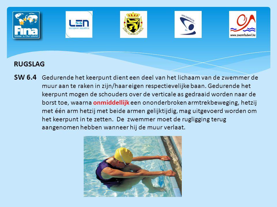 RUGSLAG SW 6.4 Gedurende het keerpunt dient een deel van het lichaam van de zwemmer de muur aan te raken in zijn/haar eigen respectievelijke baan. Ged