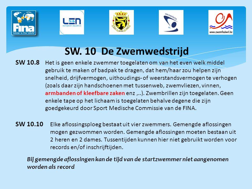 SW. 10 De Zwemwedstrijd SW 10.8 Het is geen enkele zwemmer toegelaten om van het even welk middel gebruik te maken of badpak te dragen, dat hem/haar z