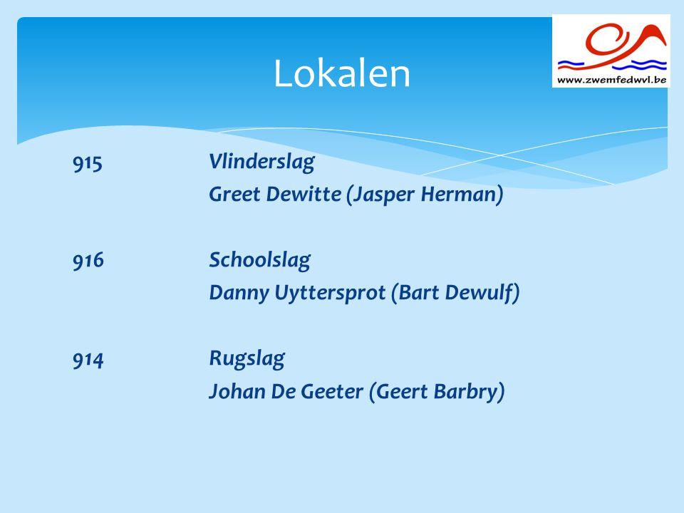 915 Vlinderslag Greet Dewitte (Jasper Herman) 916Schoolslag Danny Uyttersprot (Bart Dewulf) 914Rugslag Johan De Geeter (Geert Barbry) Lokalen