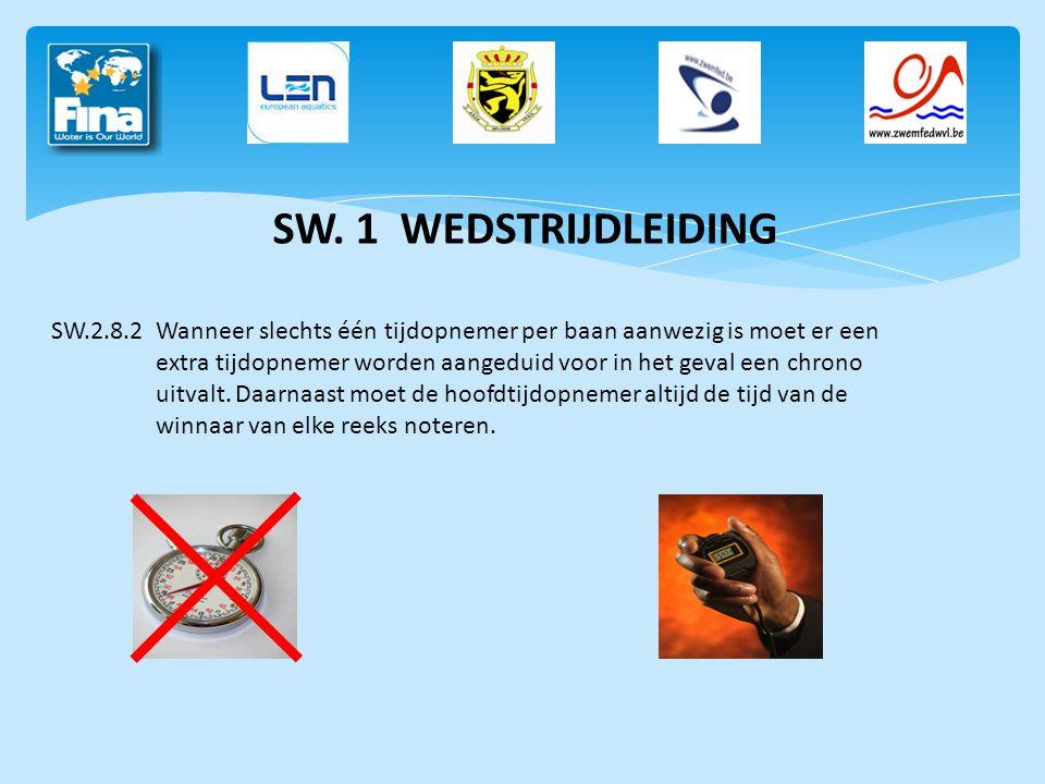 SW. 1 WEDSTRIJDLEIDING SW.2.8.2Wanneer slechts één tijdopnemer per baan aanwezig is moet er een extra tijdopnemer worden aangeduid voor in het geval e