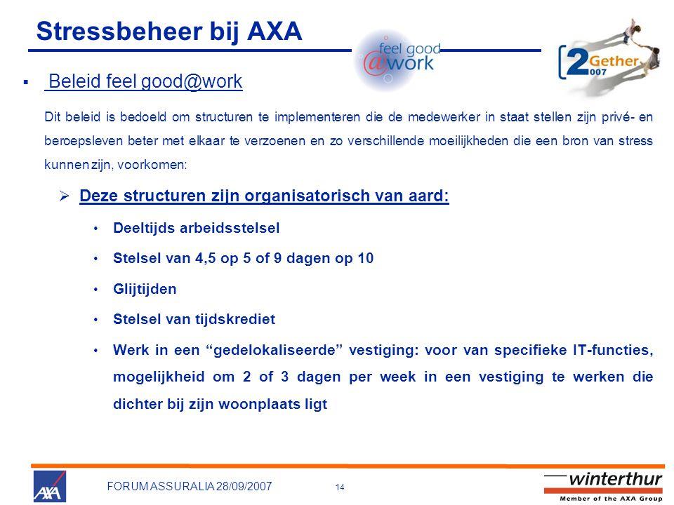 14 FORUM ASSURALIA 28/09/2007 Stressbeheer bij AXA  Beleid feel good@work Dit beleid is bedoeld om structuren te implementeren die de medewerker in s