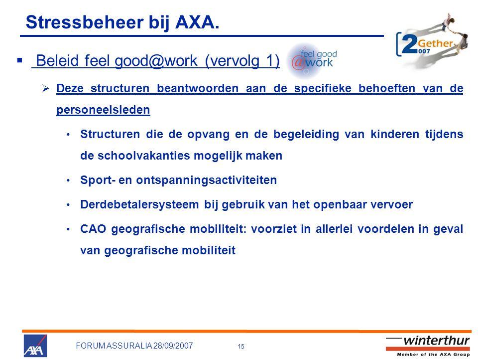 15 FORUM ASSURALIA 28/09/2007 Stressbeheer bij AXA.  Beleid feel good@work (vervolg 1)  Deze structuren beantwoorden aan de specifieke behoeften van