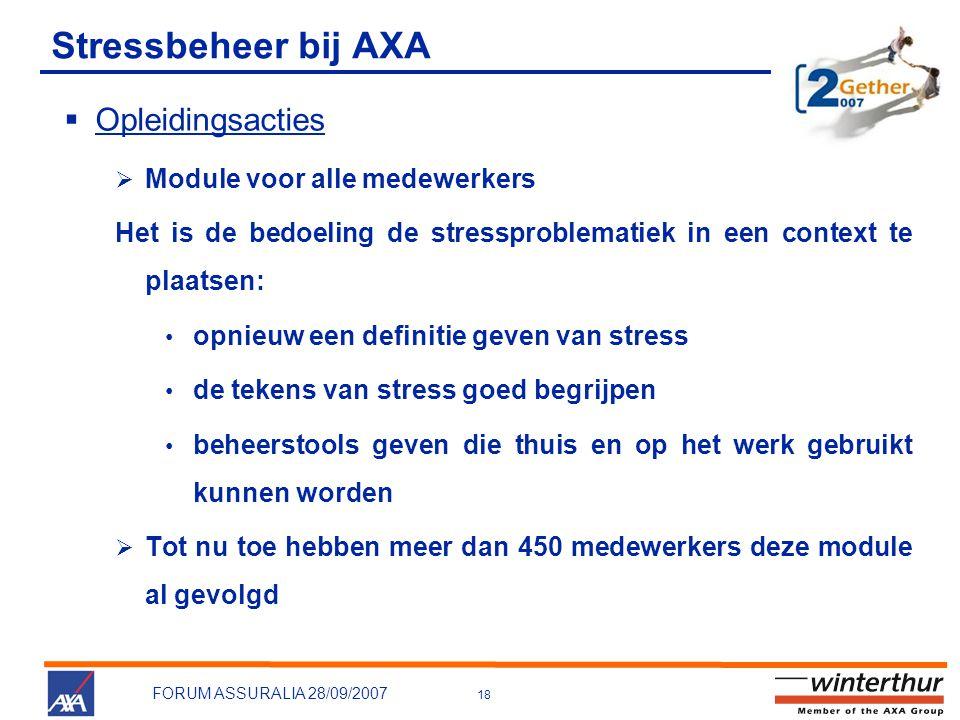 18 FORUM ASSURALIA 28/09/2007 Stressbeheer bij AXA  Opleidingsacties  Module voor alle medewerkers Het is de bedoeling de stressproblematiek in een context te plaatsen: • opnieuw een definitie geven van stress • de tekens van stress goed begrijpen • beheerstools geven die thuis en op het werk gebruikt kunnen worden  Tot nu toe hebben meer dan 450 medewerkers deze module al gevolgd