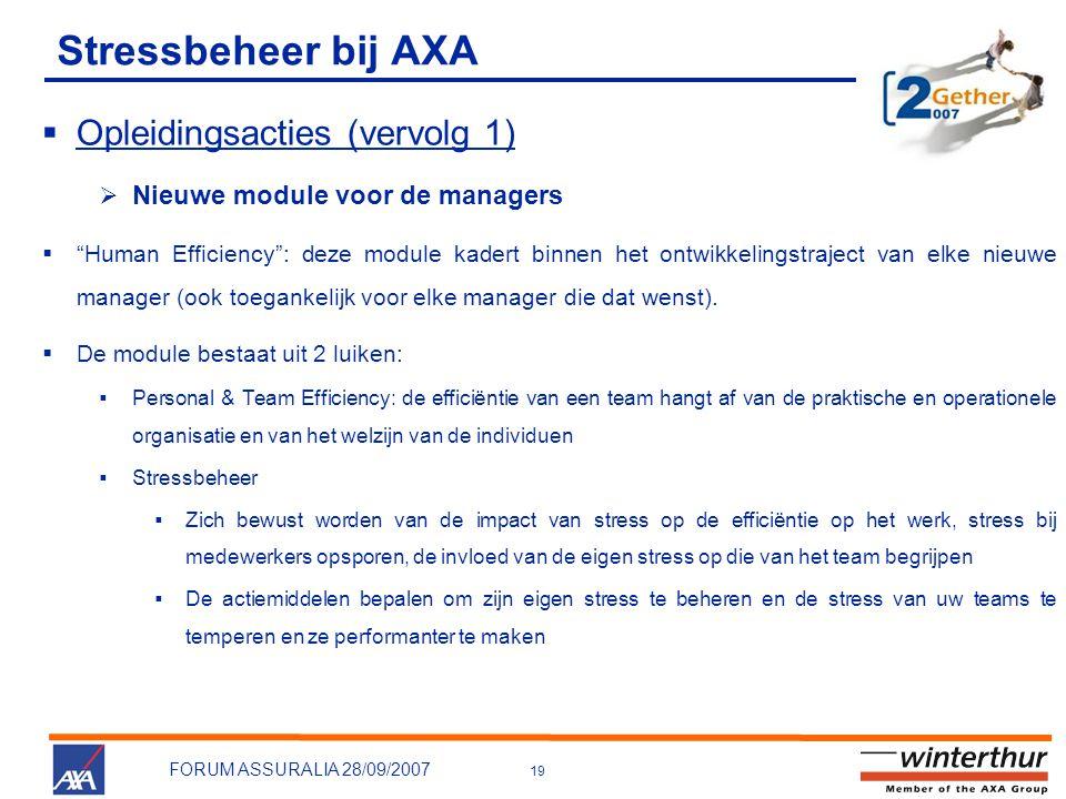 19 FORUM ASSURALIA 28/09/2007 Stressbeheer bij AXA  Opleidingsacties (vervolg 1)  Nieuwe module voor de managers  Human Efficiency : deze module kadert binnen het ontwikkelingstraject van elke nieuwe manager (ook toegankelijk voor elke manager die dat wenst).