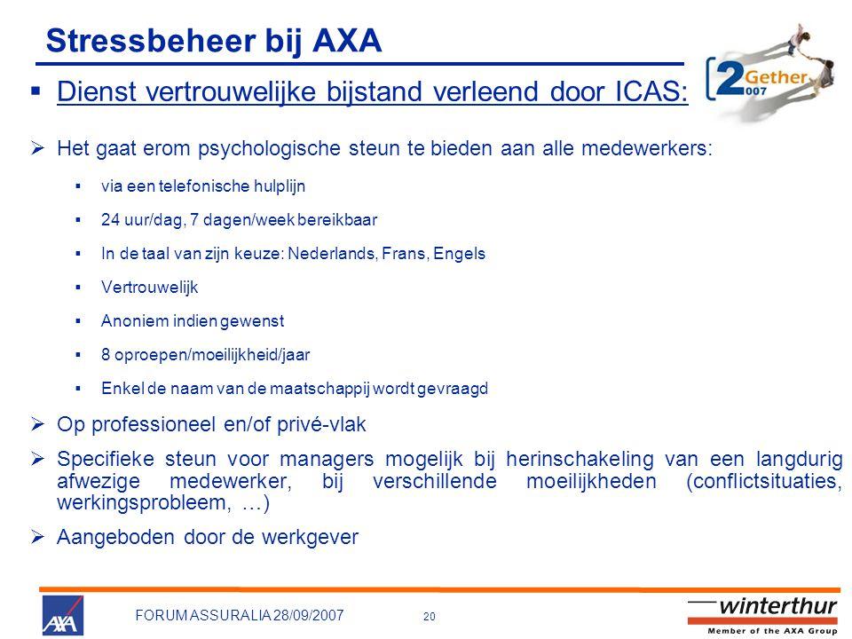20 FORUM ASSURALIA 28/09/2007 Stressbeheer bij AXA  Dienst vertrouwelijke bijstand verleend door ICAS:  Het gaat erom psychologische steun te bieden
