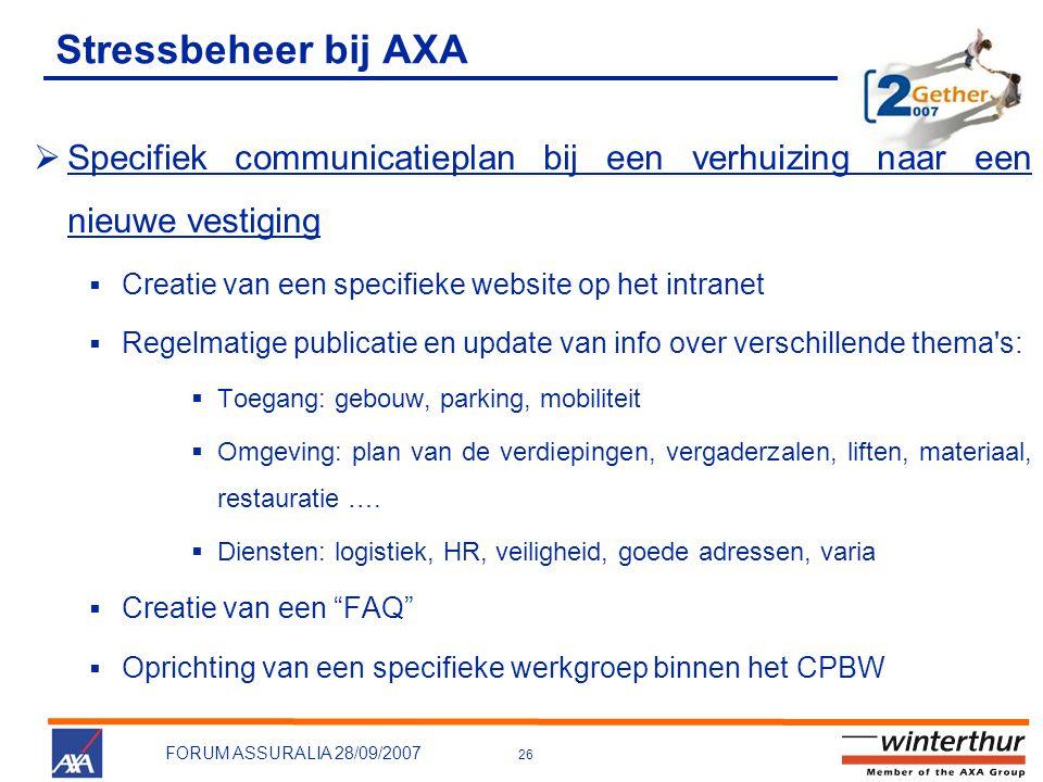 26 FORUM ASSURALIA 28/09/2007 Stressbeheer bij AXA  Specifiek communicatieplan bij een verhuizing naar een nieuwe vestiging  Creatie van een specifi