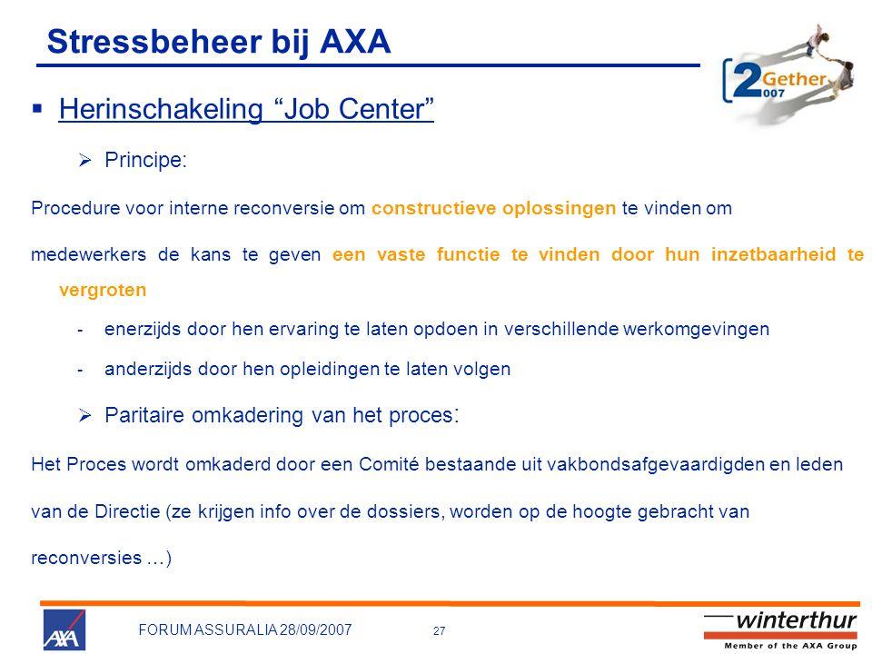 """27 FORUM ASSURALIA 28/09/2007 Stressbeheer bij AXA  Herinschakeling """"Job Center""""  Principe: Procedure voor interne reconversie om constructieve oplo"""